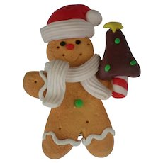 Ginger Bread Boy with Santa Hat & Christmas Tree Pin