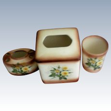Porcelain Bathroom Tissue, Toothbrush, and Glass Vanity Set