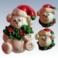 Santa Bears Pin and Earring Set