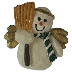 Molded Primitive Sculpture Snowman Angel Pin