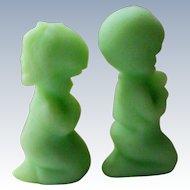 Fenton Green Satin Glass Praying Boy and Girl Figurines