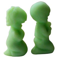 Fenton Green Satin Glass Praying Boy and Girl Figurines - Red Tag Sale Item