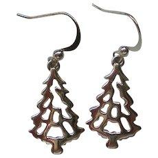 Christmas Tree Silver tone Metal Dangle Earrings for the Holidays