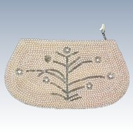 Faux Pearl and Rhinestone Beaded Bag