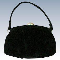 Vintage Black Velvet Evening Bag by Garay