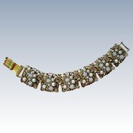 Metal and Faux Pearl Link Bracelet by ART