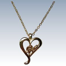 Gold tone Heart with Rose Pendant Necklace