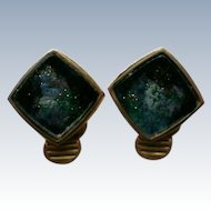 Square Gold Tone Clip Earrings with Unusual Centers