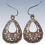 Brite Cut Silver tone Rhinestone Dangle Earrings