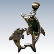 Mother & Baby Dolphin Abalone Shell Pendant