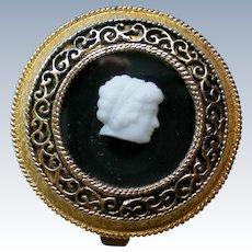 White Cameo Gold tone Filigree Pressed Powder Compact