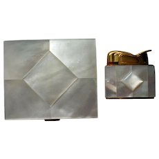 Mother of Pearl Powder Compact and Matching Cigarette Lighter