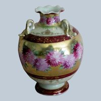 Footed Ball Vase, Triple Handle, with Gilt Enamel