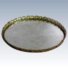 Gold Plated Ormolu Vanity Dresser Tray Mirror