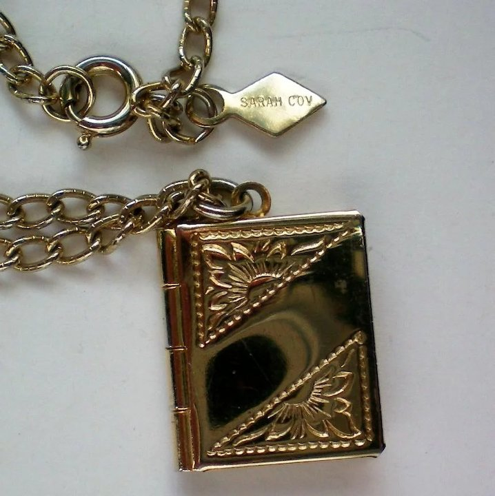 Sarah coventry book locket pendant necklace sold ruby lane sarah coventry book locket pendant necklace aloadofball Images