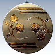 Silver tone Powder Compact with Gold Floral Design