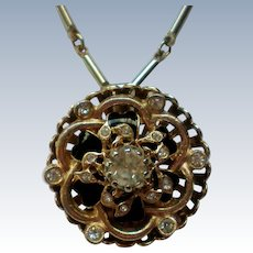 Gold tone Rhinestone Pendant  Necklace