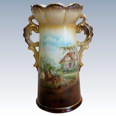 Austria Double Handle Scenic Vase