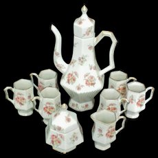 Chocolate Coffee Tea Decanter Set with Six Cups