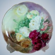 Beautiful Hand Painted Roses Plate marked France BM de M Limoges