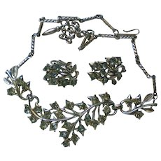 Coro 1950's Floral Necklace & Clip Earrings Set