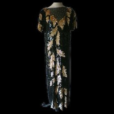 Full Length Black and Gold Sequin Evening Gown - Red Tag Sale Item