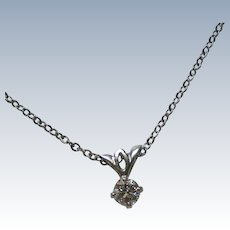 Solitaire Diamond Necklace in Sterling Silver