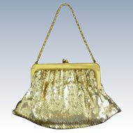 Whiting & Davis Gold Metal Mesh Bag with Chain Handle