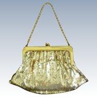 Whiting & Davis Gold Metal Mesh Bag with Chain Handle
