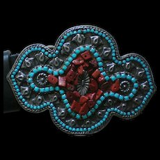 Large Faux Turquoise & Coral Native American Style Belt Buckle