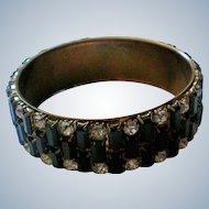 Black Baguette Rhinestone Cuff Bracelet