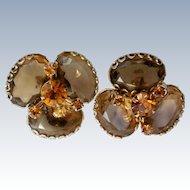 Amber Glass Rhinestone Clip Earrings