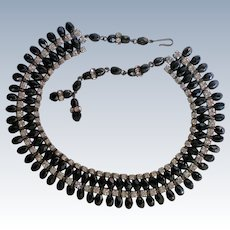 Sassy Black Glass Bead Rhinestone Necklace