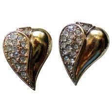 Gold Tone Rhinestone Accented Heart Earrings
