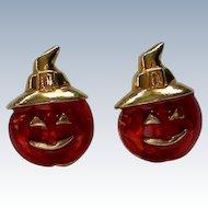 Avon Halloween Pumpkin Jack-O-Lantern Earrings