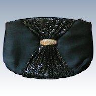 Black Satin Metal Mesh Evening Shoulder Bag