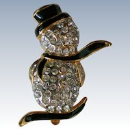 Pave' Set Rhinestone Snowman for Christmas Holidays