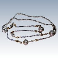 Avon Silver and Gold tone Opera Length Necklace
