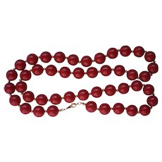 Vintage Cherry Red Plastic Bead Necklace perfect for the Holidays