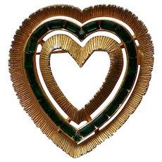 Emerald Green Baguette Accented Heart Pin