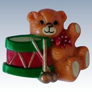 Molded Plastic Teddy Bear with Drum Pin