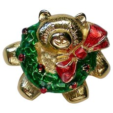 Christmas Holiday Teddy Bear Pin with Wreath
