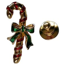 Avon Candy Cane Tie Tack Hat Pin for Christmas Holidays