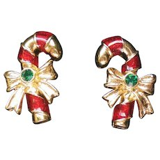 Avon Candy Cane Pierced Earrings for Christmas Holidays