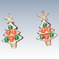 Colorful Christmas Tree Pierced Earrings by Avon