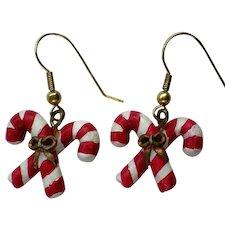 Tiny Candy Cane Dangle Earrings for Christmas Holiday Season