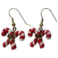 Tiny Candy Cane Dangle Earrings for Christmas Holiday Season