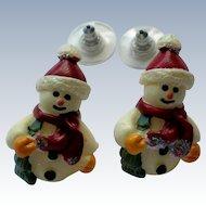 Little Snowmen Pierced Earrings for Winter Holidays