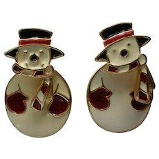 Two Part Snowmen Pierced Earrings
