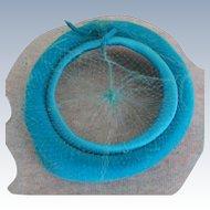 Turquoise Blue Velvet 1950's Open Top Veil Hat